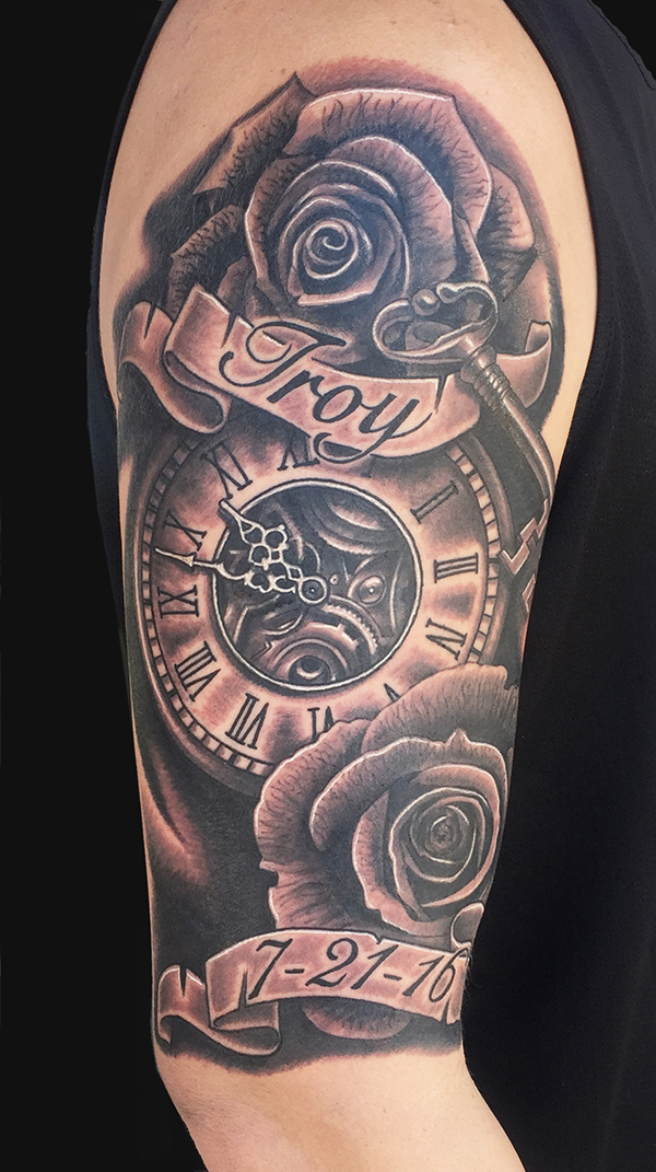 memorial black ink clock with roses and banner tattoo on right half sleeve by daniel chashoudian. Black Bedroom Furniture Sets. Home Design Ideas