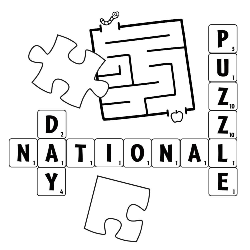 national puzzle day coloring page