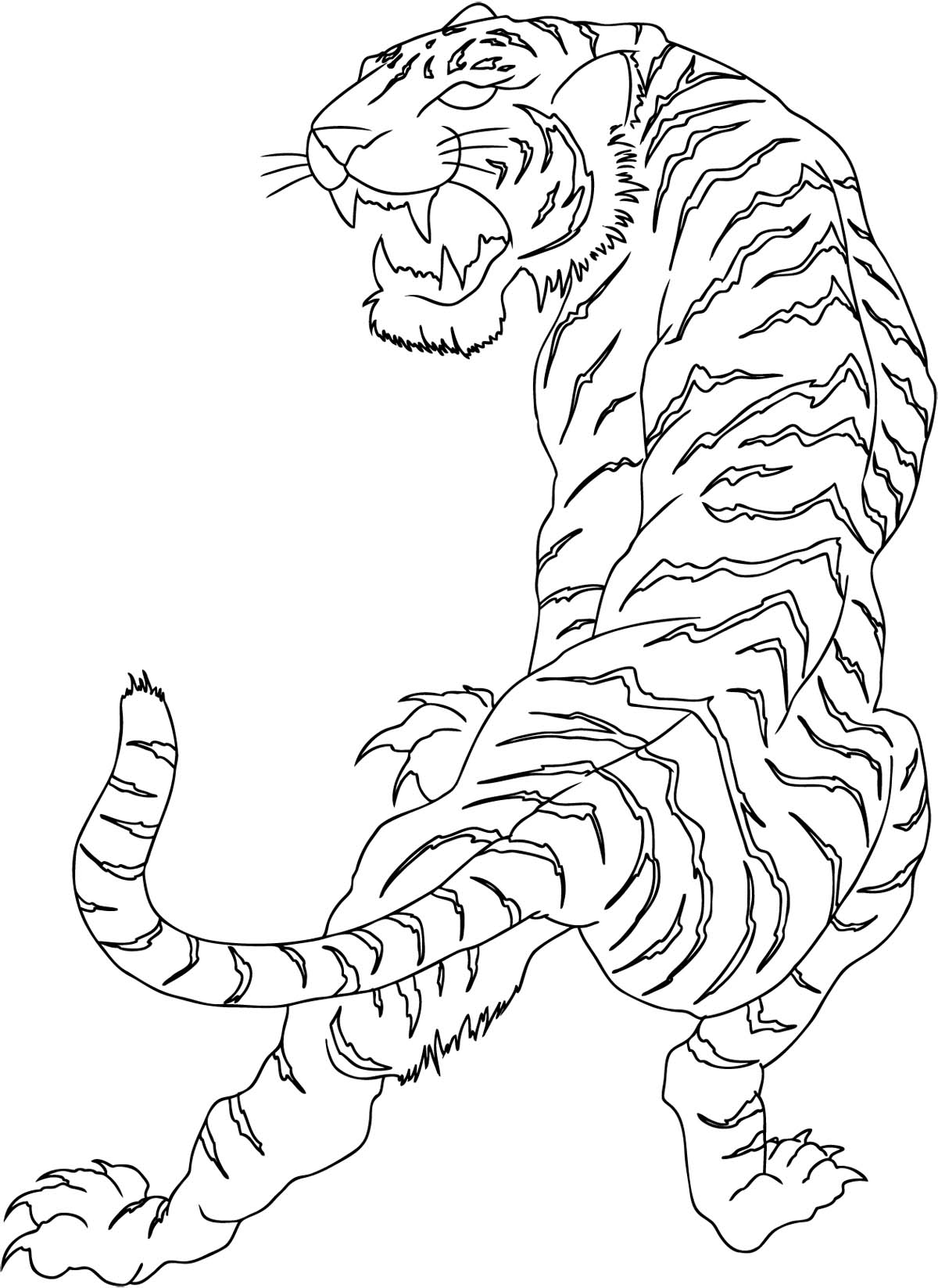 outline chinese tiger tattoo design sample