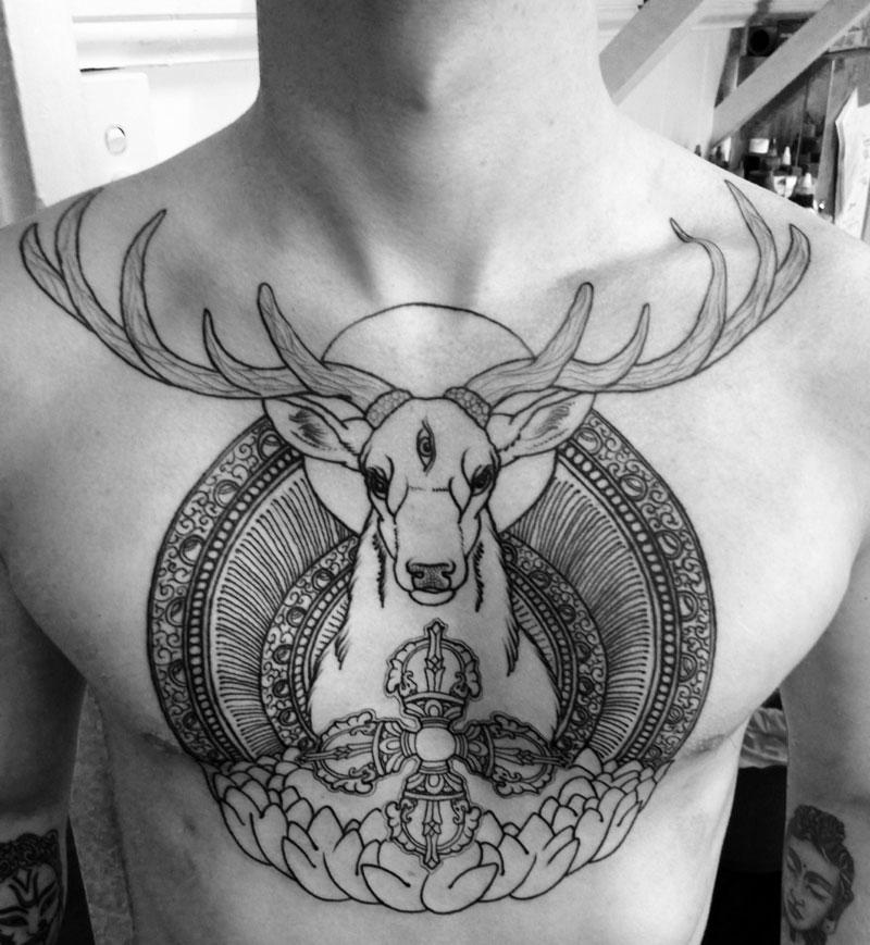 40+ Deer Tattoos On Chest