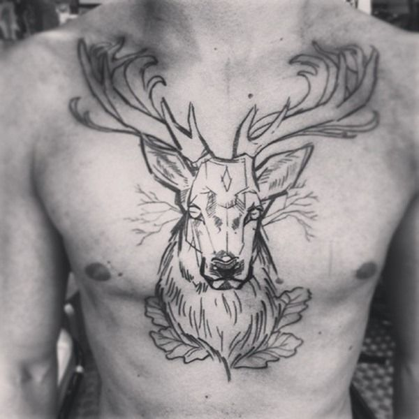 40 deer tattoos on chest