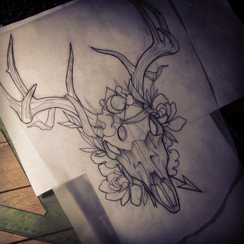 27+ Deer Skull Tattoo Designs Ideas