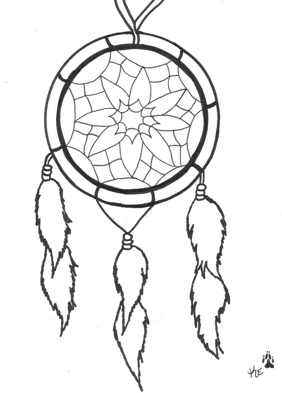 Outline simple dreamcatcher tattoo design for Dreamcatcher tattoo template