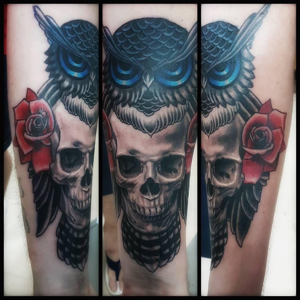 Owl skull tattoos for Owl and sugar skull tattoo