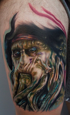 davy jones tattoo on right thigh. Black Bedroom Furniture Sets. Home Design Ideas