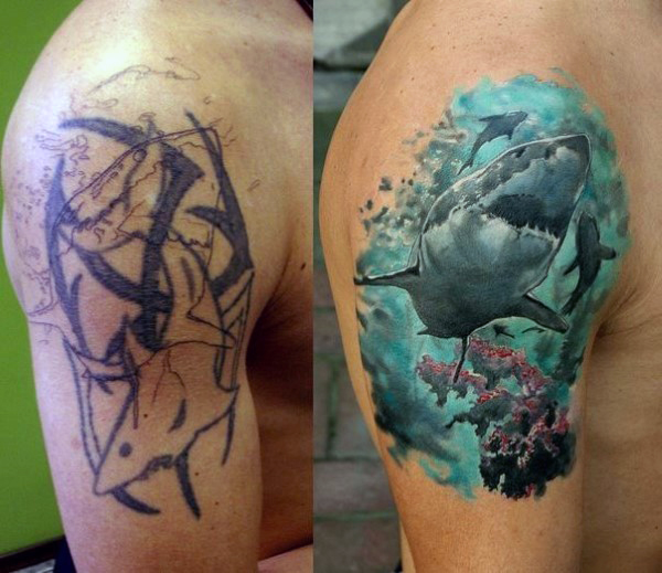 45 best shark tattoos designs on arm for Tattoos on right arm