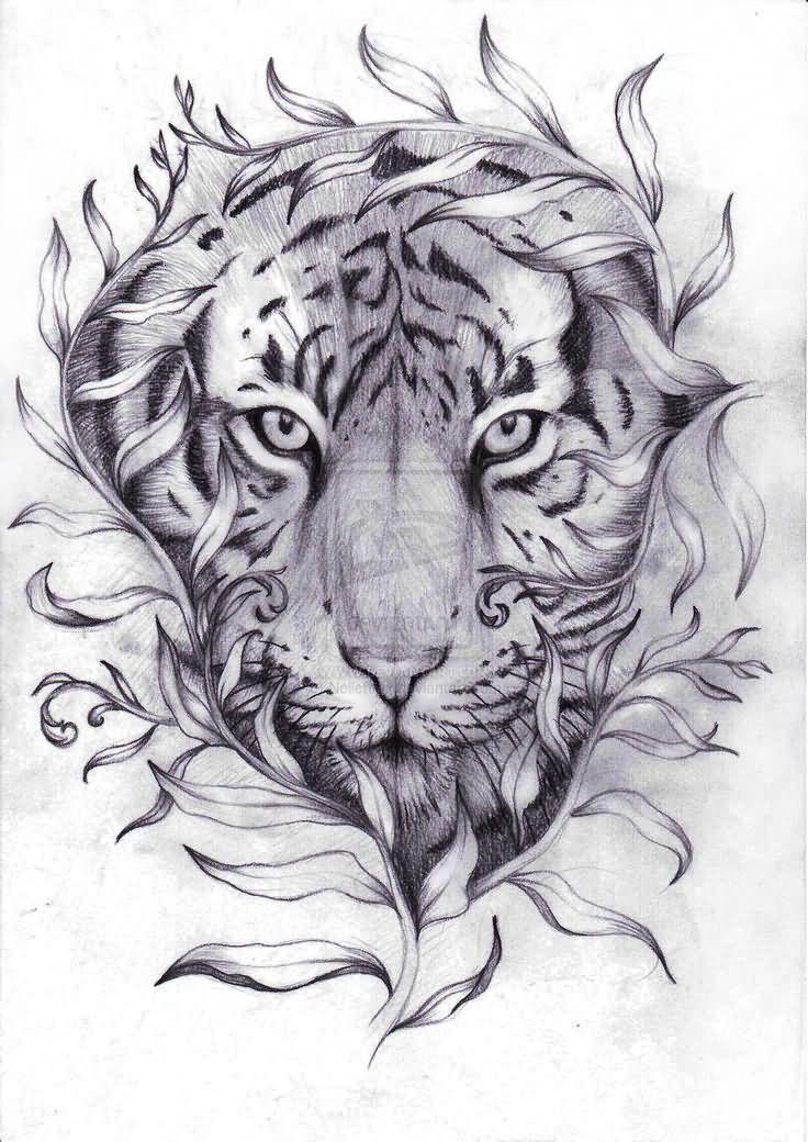 ed1c9820c Ripped Skin Tiger Head Tattoo Design