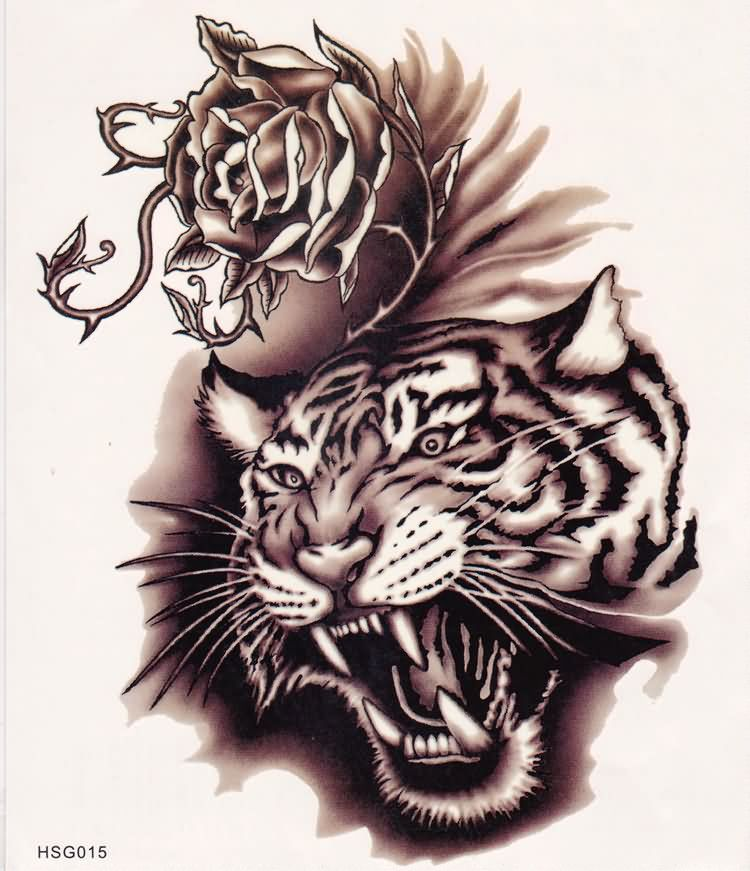 Roaring Tiger And Rose With Thorns Tattoo Design