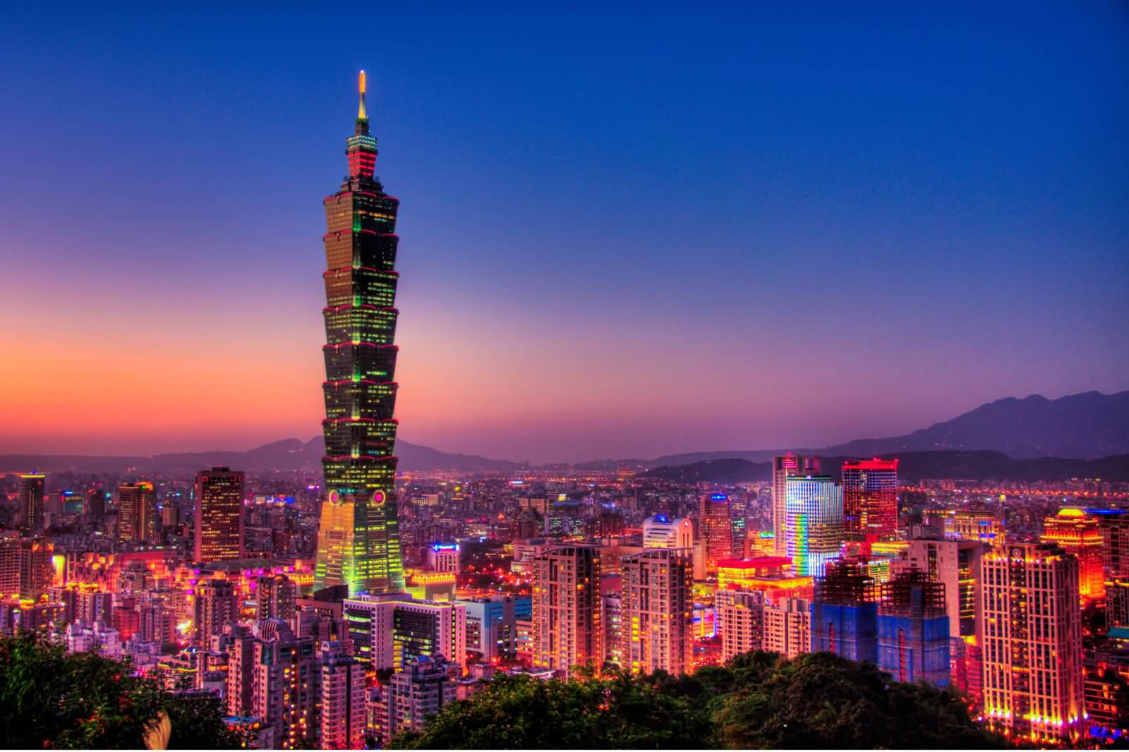 Scenic View Of The Taipei 101 Tower With Night Lights