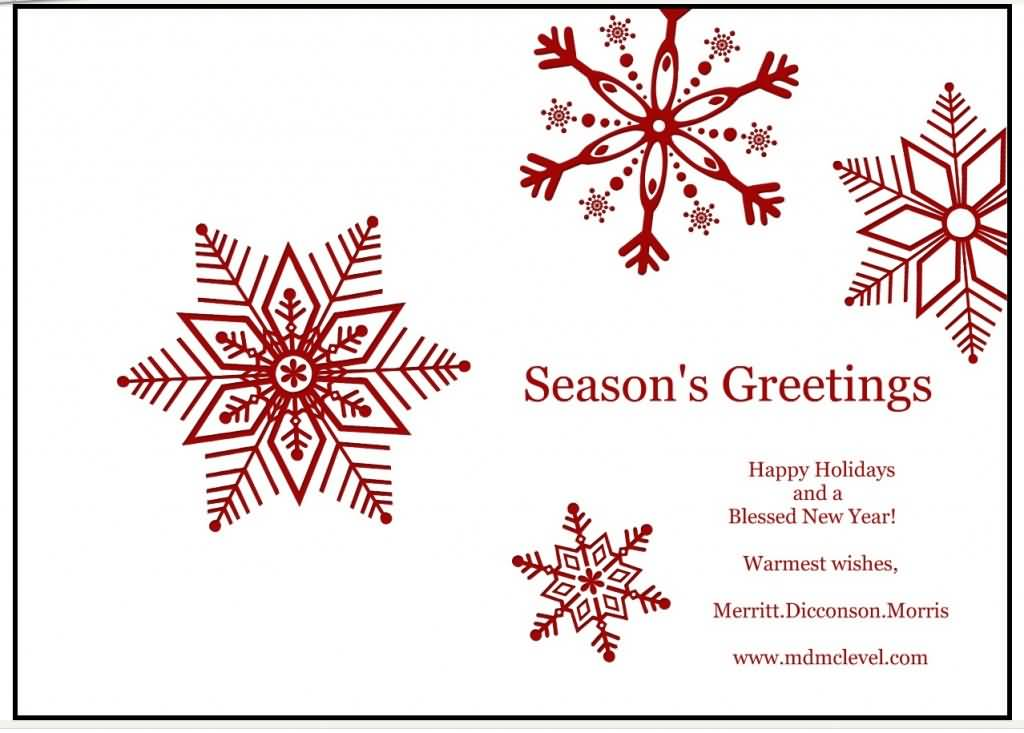 seasons greetings happy holidays and a blessed new year card