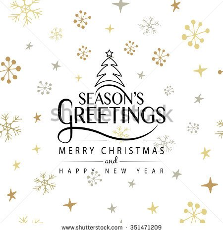 Season\'s Greetings Merry Christmas And Happy New Year Greeting Card