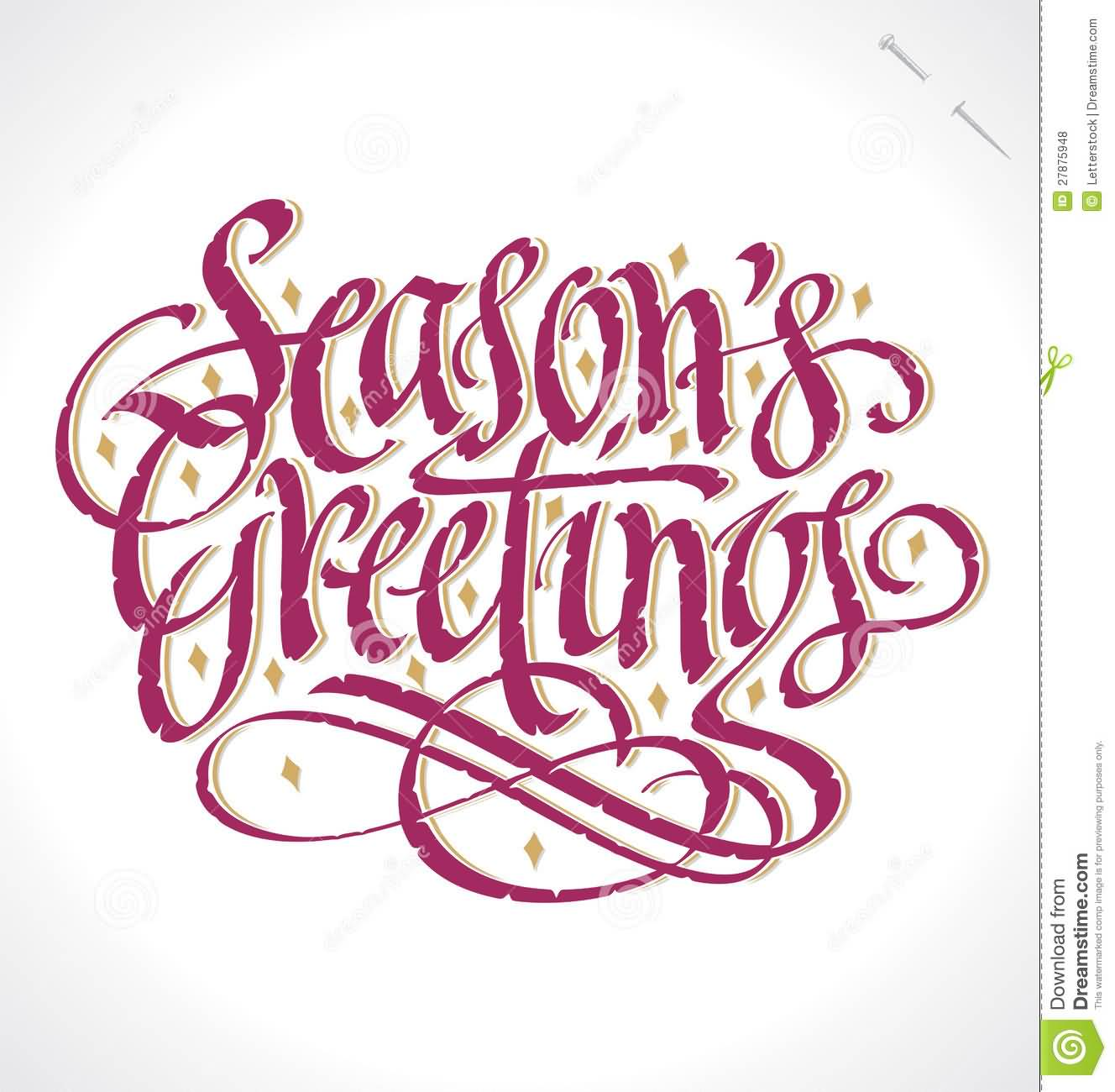 Seasons Greetings Purple Hand Lettering