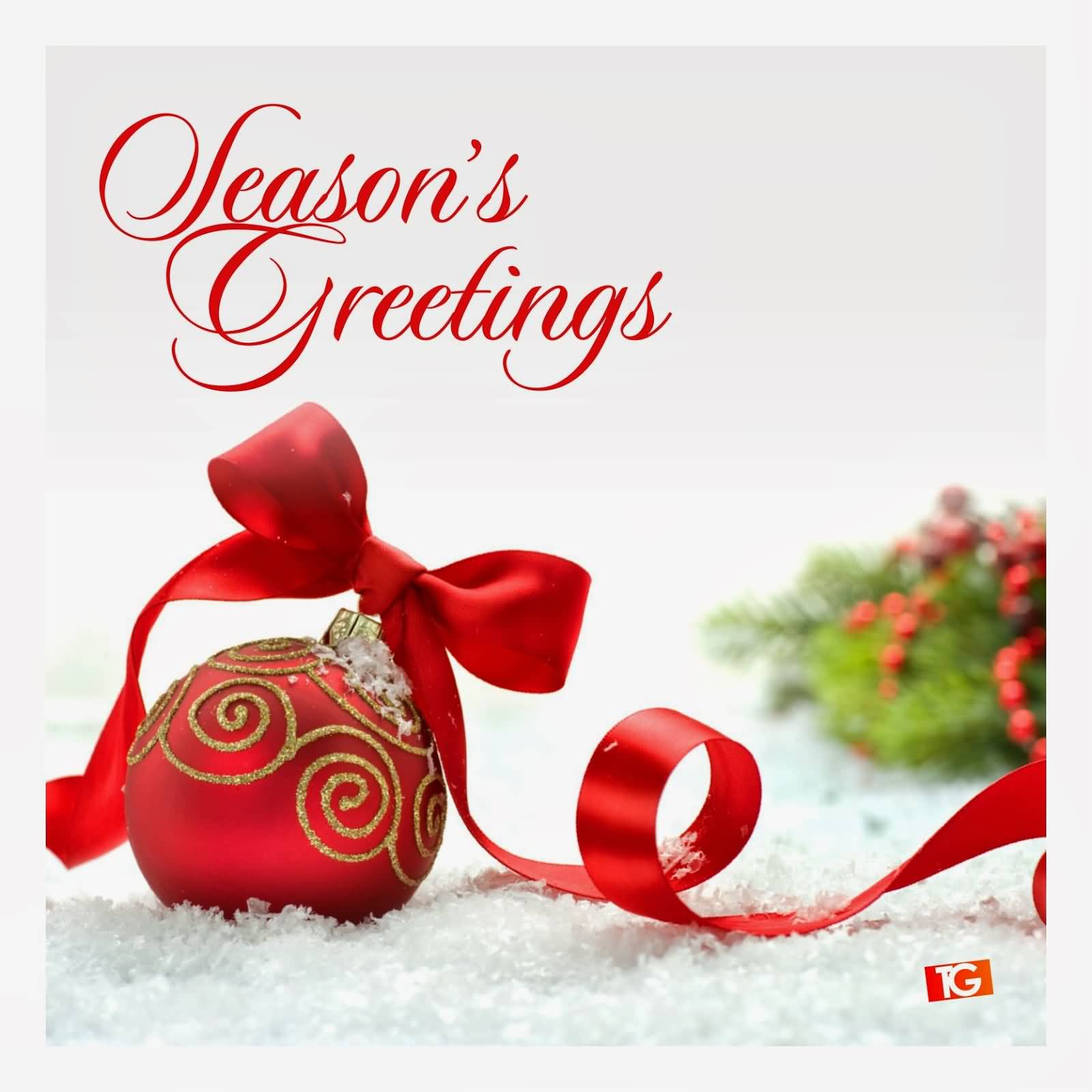 55 best seasons greetings and photos seasons greetings red christmas ball with ribbon bow m4hsunfo