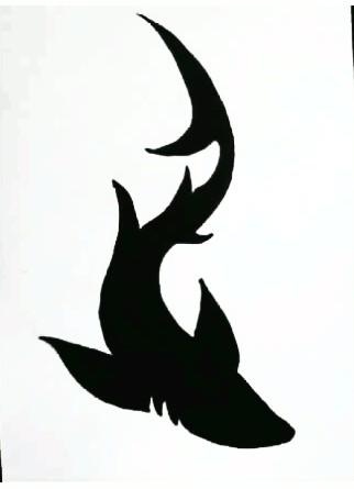 Awesome Black Tribal Tiger Shark Tattoo Stencil