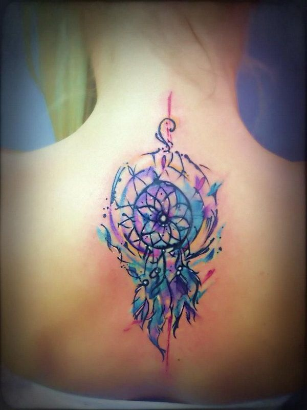 64 best and simple dreamcatcher tattoos for Watercolor dreamcatcher tattoo