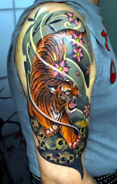 53 japanese tiger tattoos and ideas for Small japanese tattoos