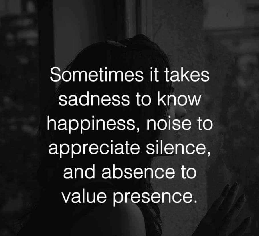 Sometimes it takes sadness to know happiness, noise to appreciate silence and absence to value presence.