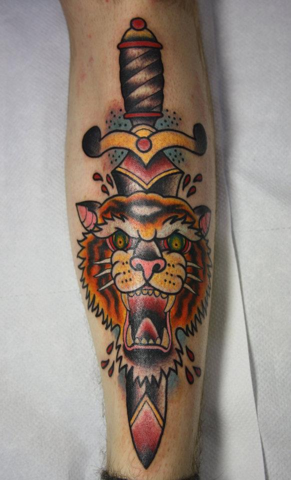 47 Tiger And Dagger Tattoos And Designs
