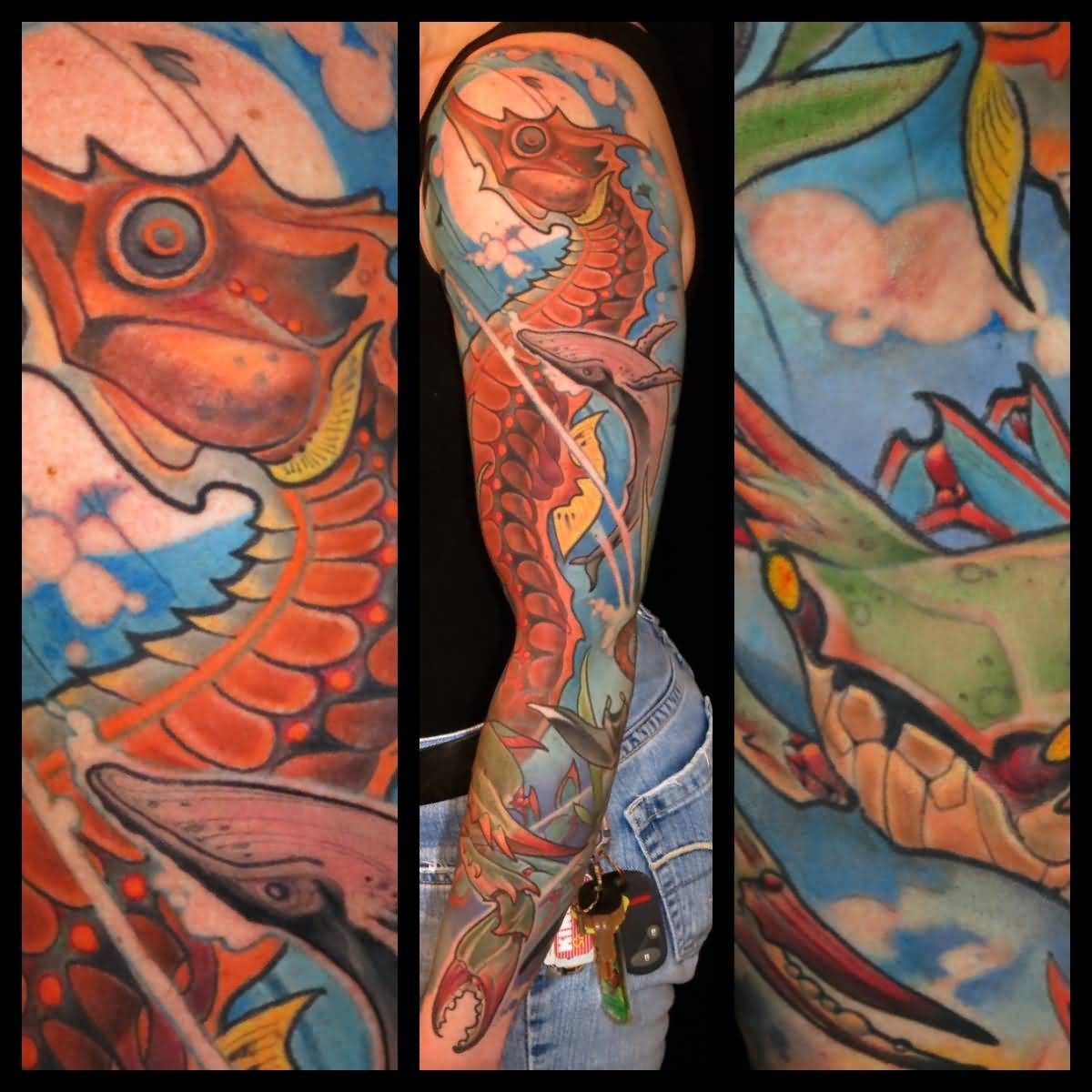Traditional Seahorse Tattoo On Left Full Sleeve