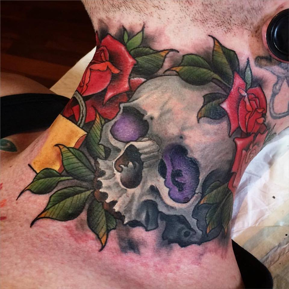 Traditional skull with roses tattoo on man right side neck for Skull neck tattoos