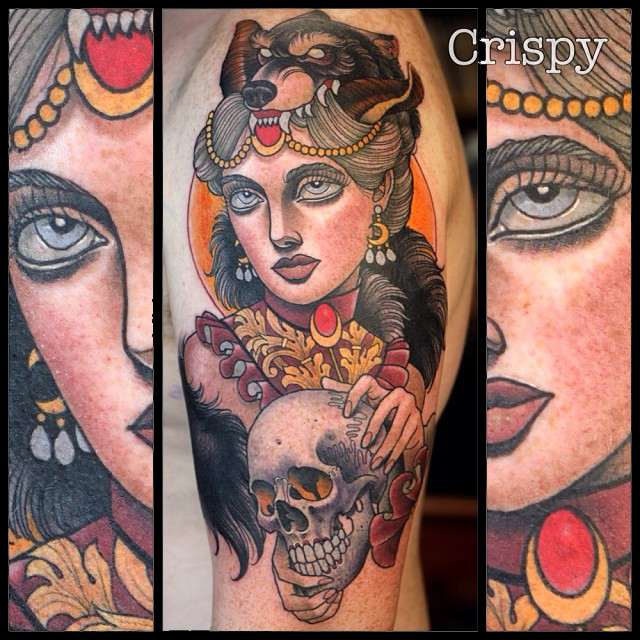 Traditional Wolf Head Girl With Skull Tattoo On Left Half Sleeve