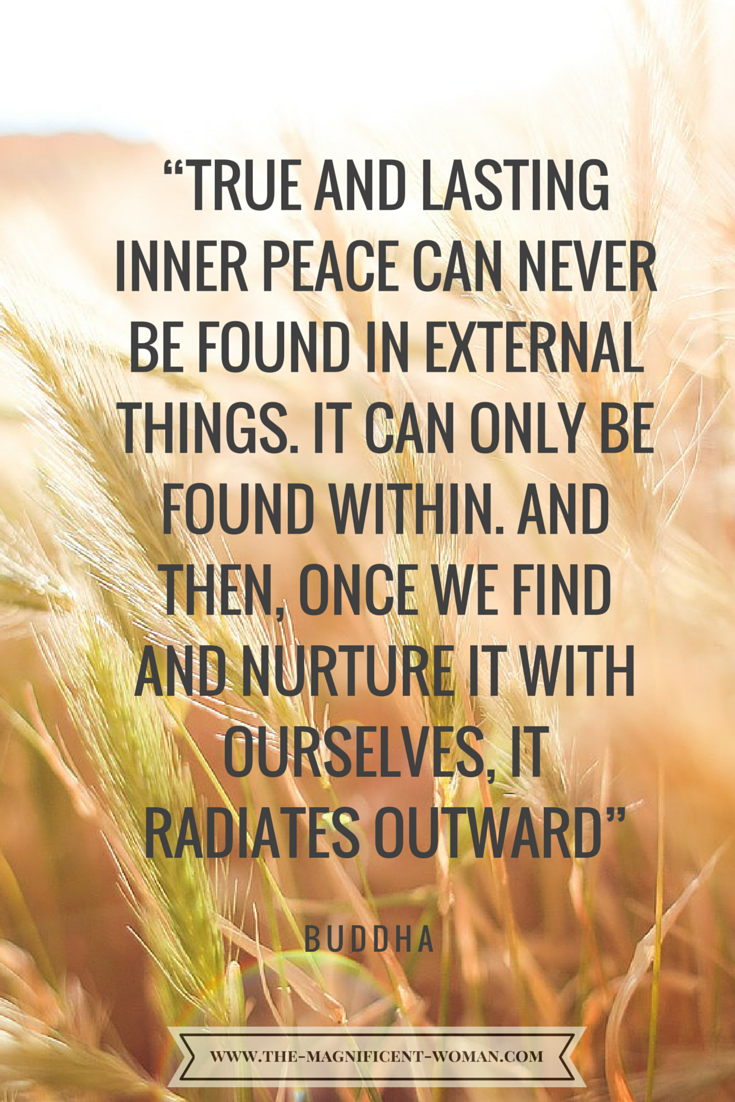 True and lasting inner peace can never be found in external things It can only