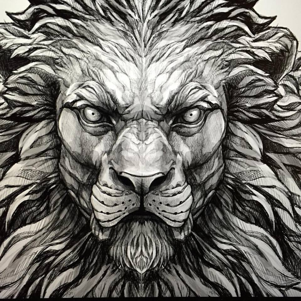 Unique Black Ink Lion Head Tattoo Design