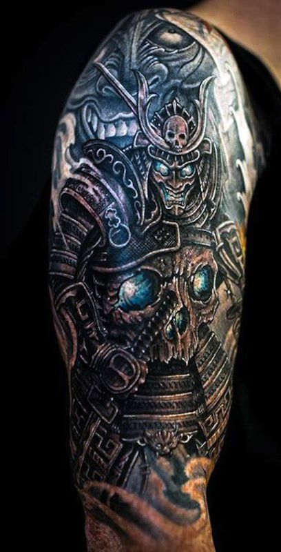 50 samurai warriors tattoos ideas and meanings for Half sleeve tattoos with meaning