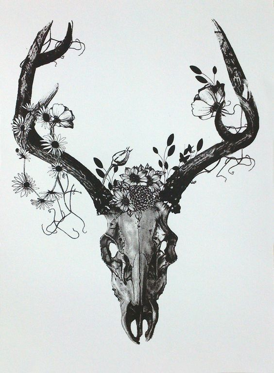 03a42239d31dc 27+ Deer Skull Tattoo Designs Ideas