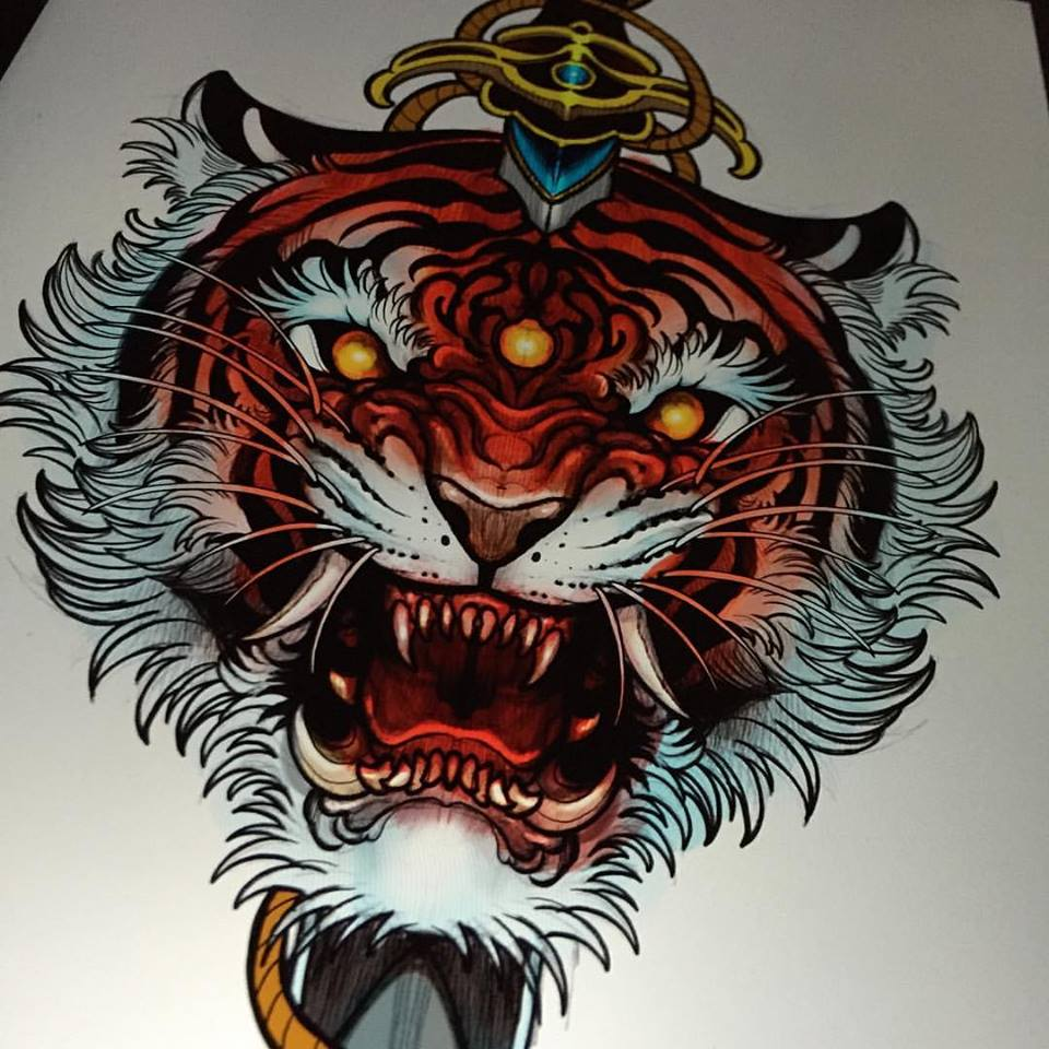 Unique Tiger Head Tattoo Design For Men