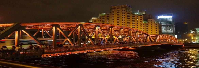 Waibaidu Bridge In Shanghai At Night