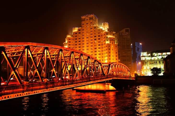 Waibaidu Bridge Lit Up At Night
