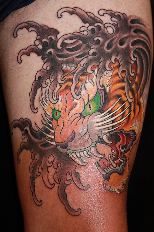 japanese tiger head tattoo. Black Bedroom Furniture Sets. Home Design Ideas