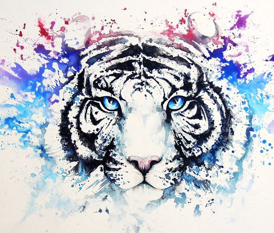 Watercolor Blue Eyes White Tiger Head Tattoo Design