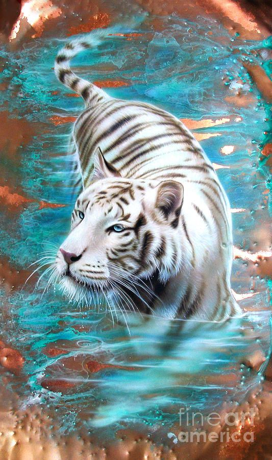 White tiger in blue water tattoo idea by fine art america for White tiger tattoo