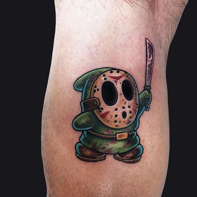 Wonderful Shy Guy Tattoo Design For Leg Calf