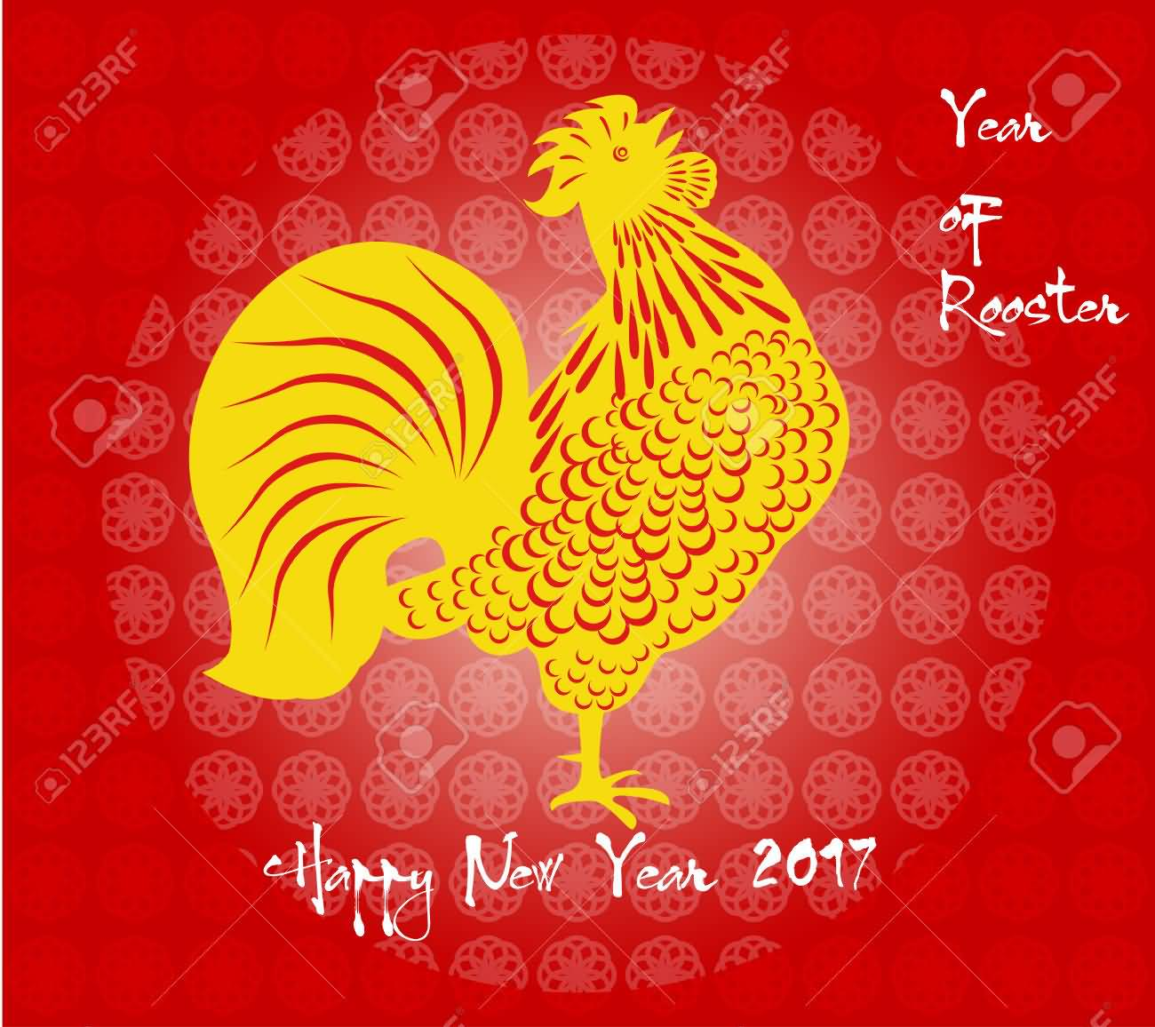 year of rooster happy chinese new year 2017 greeting card