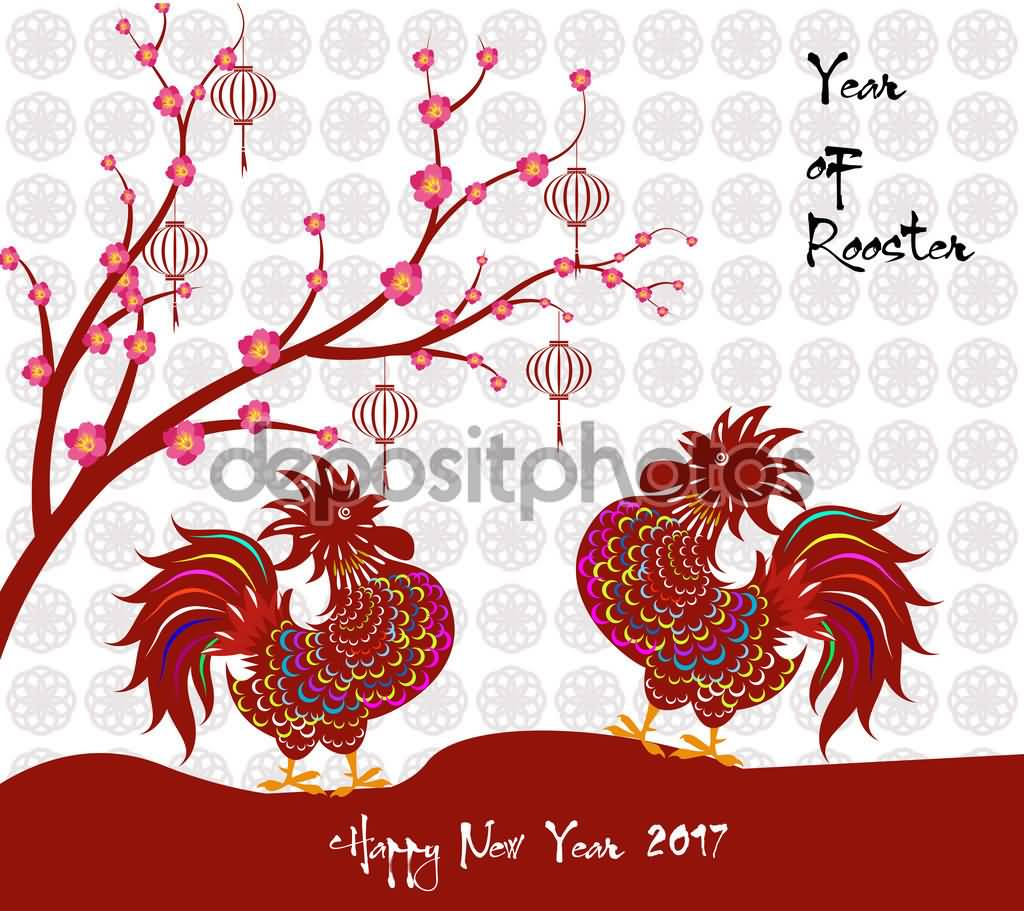 Happy Chinese New Year 2017 Year Of Rooster Greeting Card
