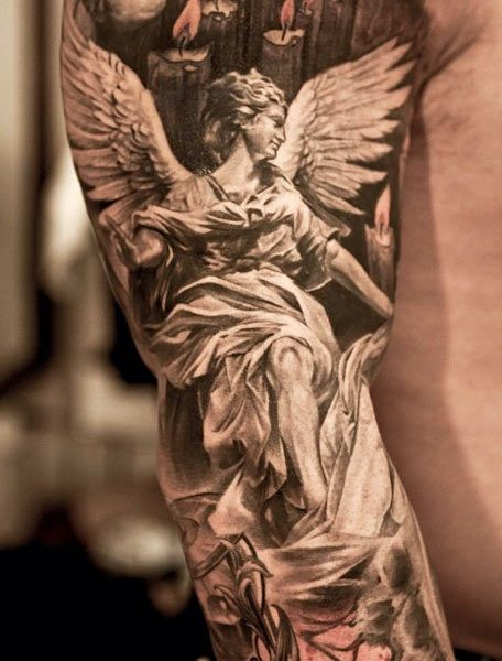 5dec1d642 3D Grey Ink Angel Tattoo On Right Sleeve