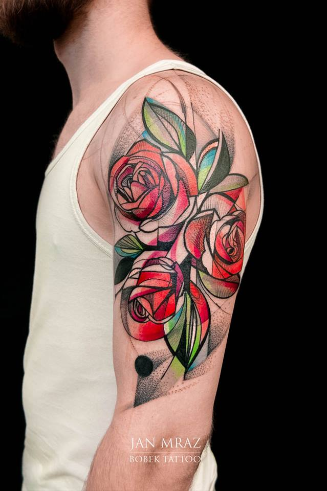 b7a2b00be7a5e Abstract Roses Tattoo On Man Left Half Sleeve