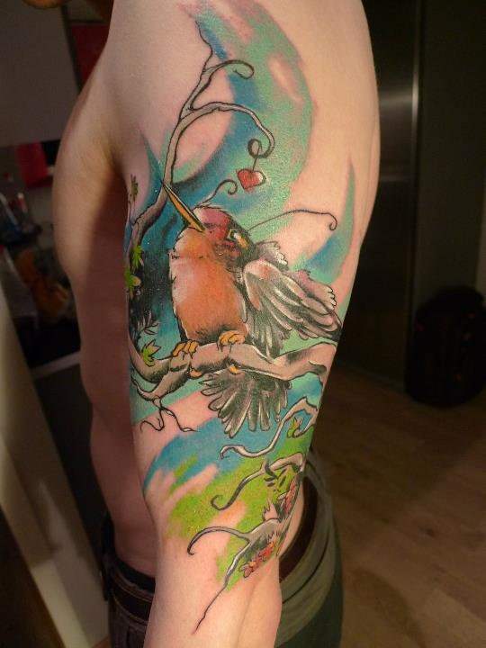 Abstract Bird On Branch Tattoo On Left Half Sleeve By Peter Bobek