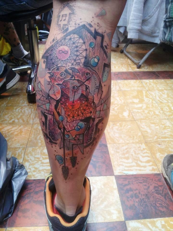 Abstract Birds Tattoo On Leg Calf
