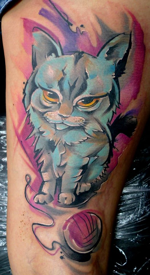 Abstract Cat Tattoo Design For Half Sleeve By Peter Bobek