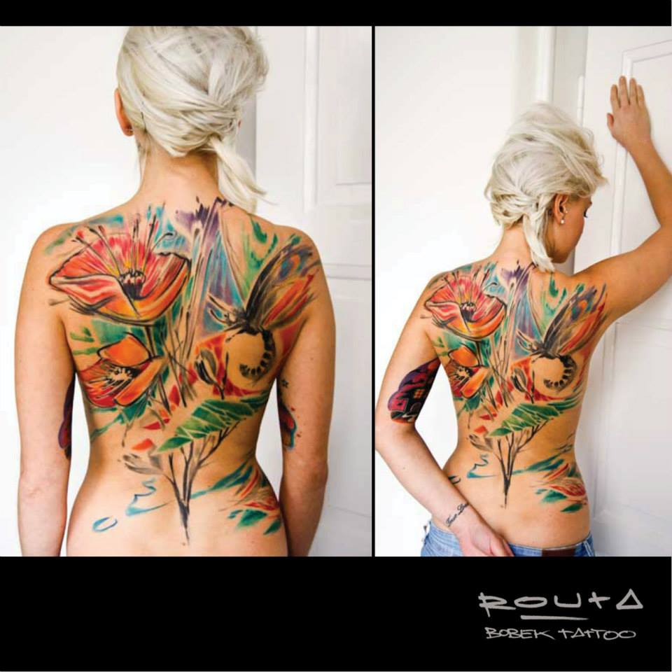 Abstract Colorful Flower With Flying Butterfly Tattoo On Full Back