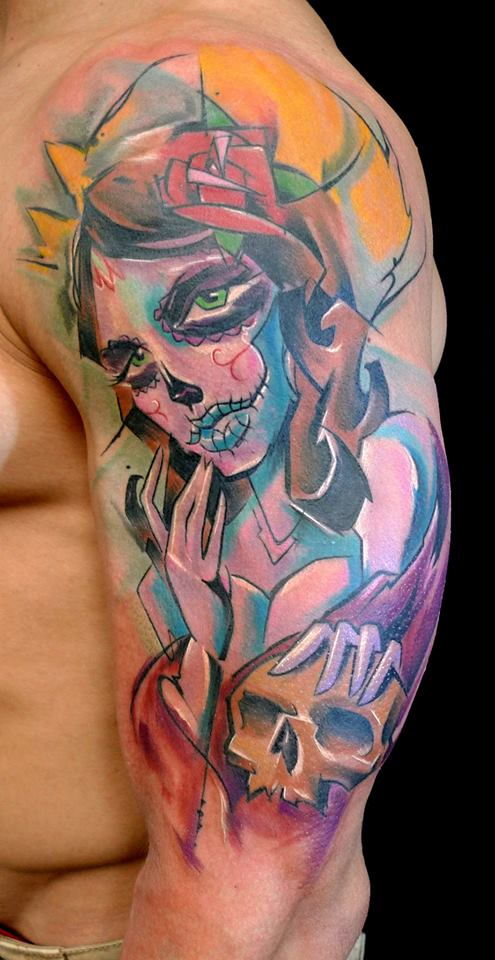 Abstract Dia De Los Muertos Women With Skull Tattoo On Man Left Half Sleeve By Peter Bobek