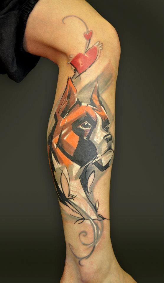 Abstract Dog Head Tattoo On Leg Calf