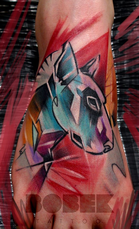 Abstract Dog Head Tattoo On Right Foot By Peter Bobek