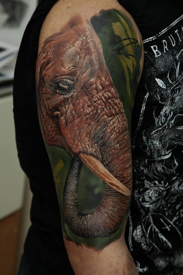 Abstract Elephant Head Tattoo On Right Half Sleeve