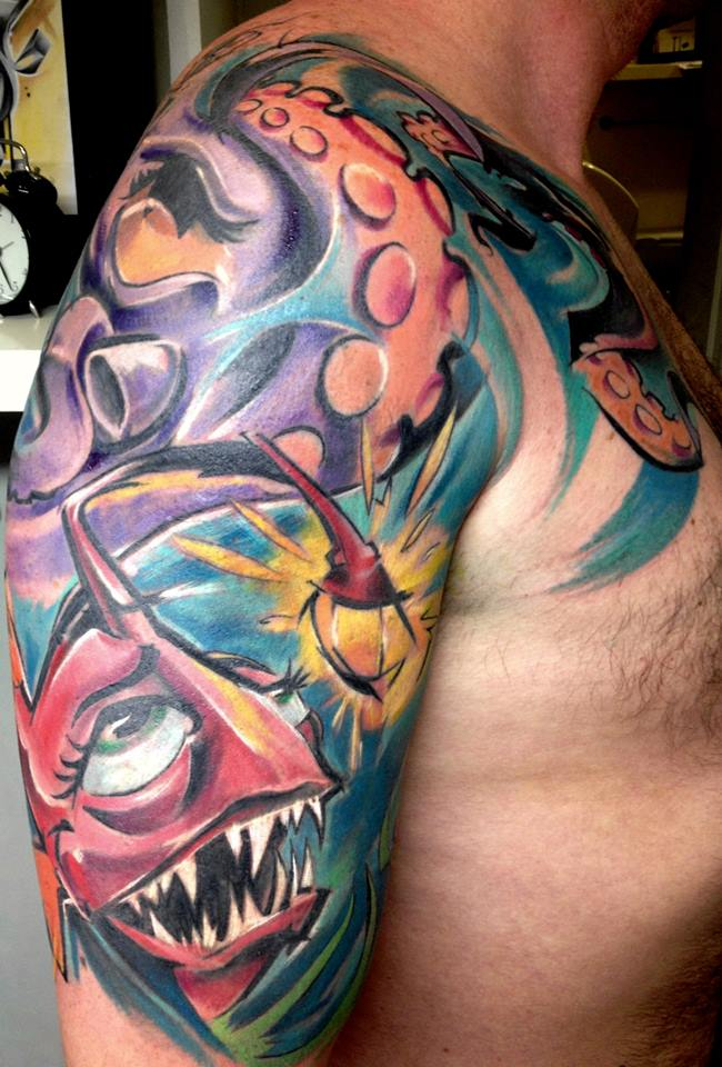 Abstract Fish With Octopus Tattoo On Man Right Half Sleeve By Peter Bobek