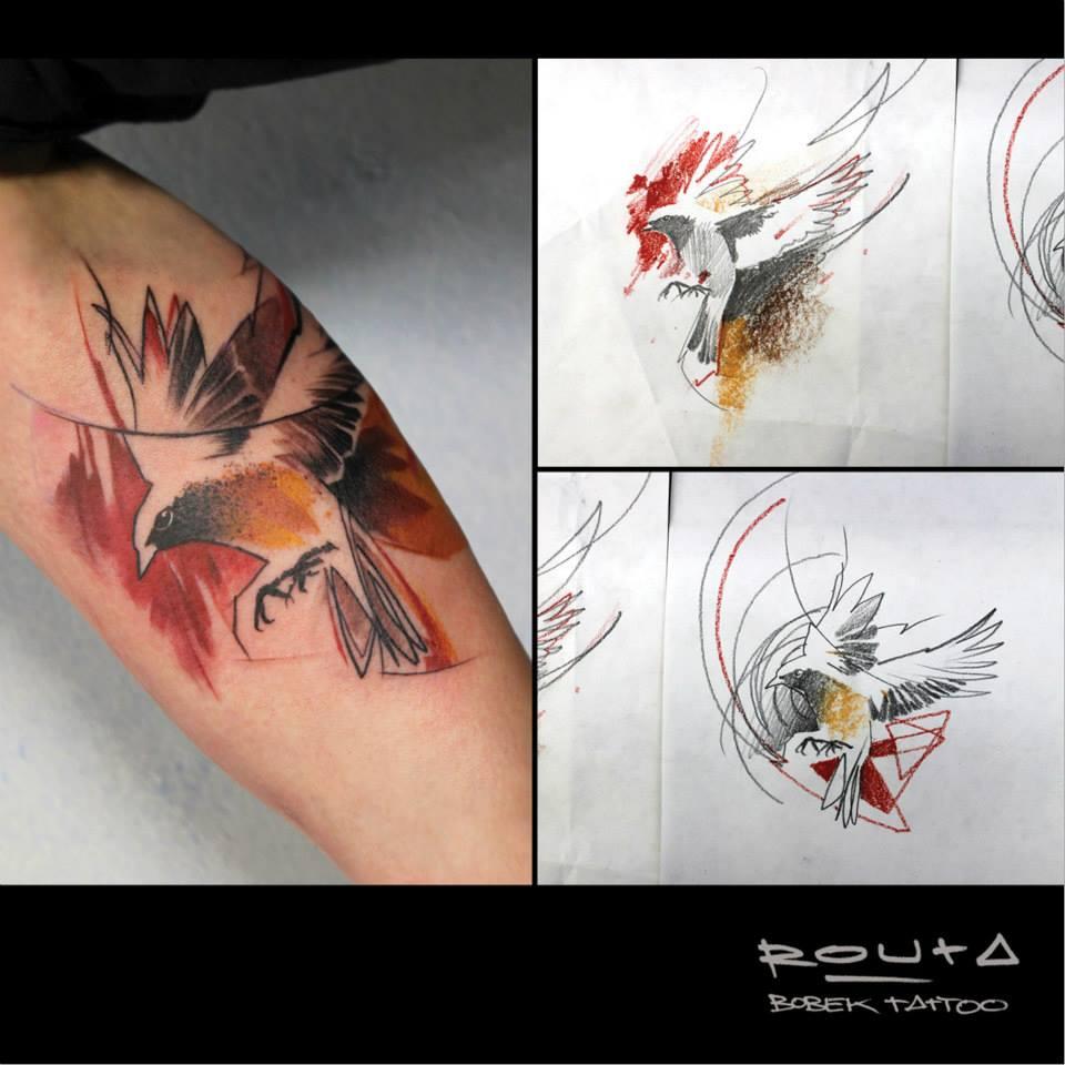 Abstract Flying Bird Tattoo On Sleeve